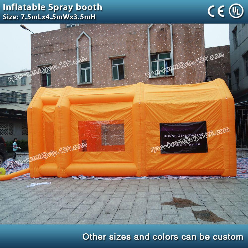 7.5mLx4.5mWx3.5mH aufblasbare spray farbe kabine mobile aufblasbare farbe zelt für auto reparatur aufblasbare spray booth mit gebläse