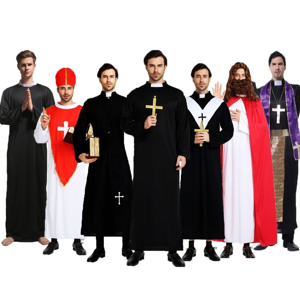 Umorden Easter Purim Halloween Costume for Adult Men Father Priest Costumes Christian Pastor Clergyman Cosplay Black Robe