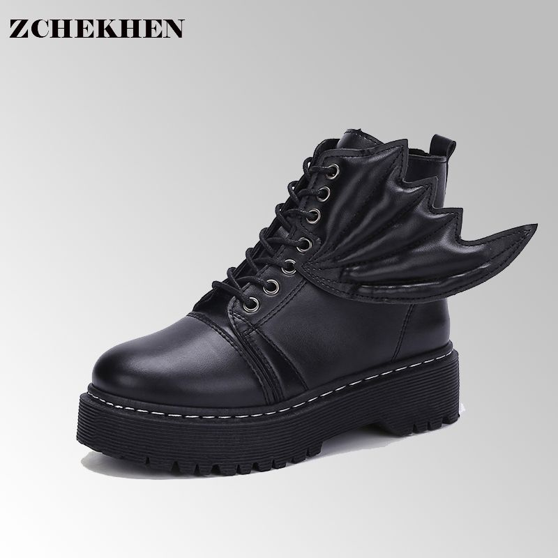Women Winter Spring Ankle Boots Devil Wing Motorcycle Boots Lace Up Thick Bottom Boots Ladies Martin Boots 100384