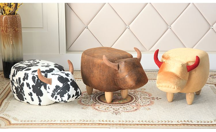 2017 new Cute Aminal Stool Cow Ottoman Small Storage Living Room Chair Children furniture made in China FREE SHIPPING