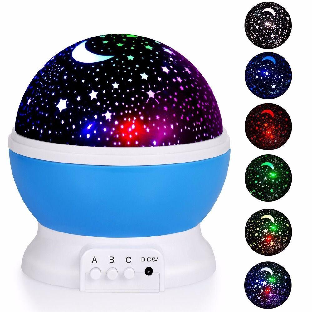 Romantic Rotating Star Moon Sky Rotation Night Projector Novelty Starry Star USB Night Light <font><b>Lamp</b></font> Projection For Kids Bed <font><b>Lamp</b></font>