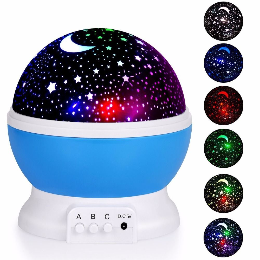 Romantic Rotating Star Moon Sky Rotation Night <font><b>Projector</b></font> Novelty Starry Star USB Night Light Lamp Projection For Kids Bed Lamp