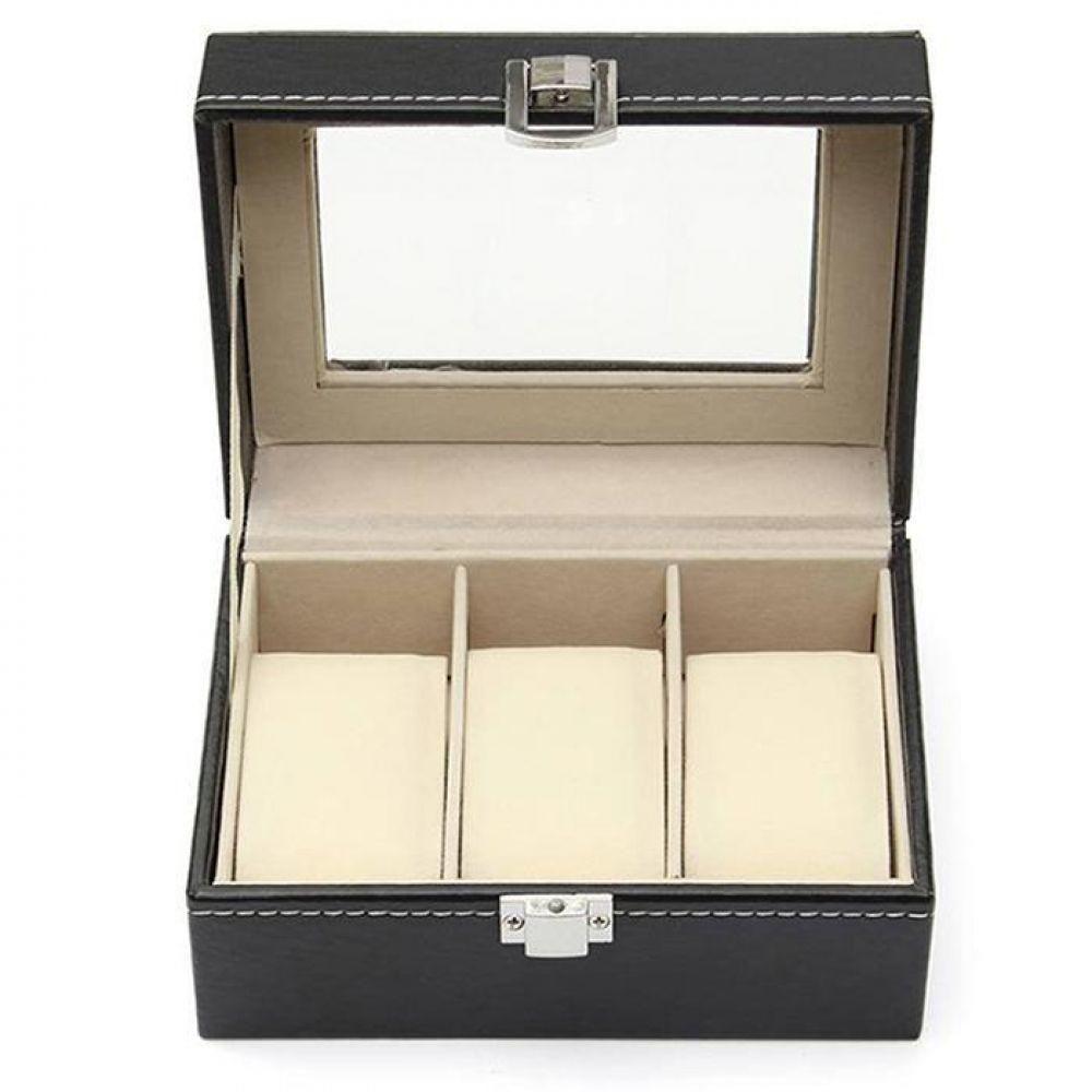 Прямоугольная 3 Сетка Смотреть Box Дисплей коллекция случае часы Коробки держатель Организатор Новый металлической пряжкой ювелирные издел...