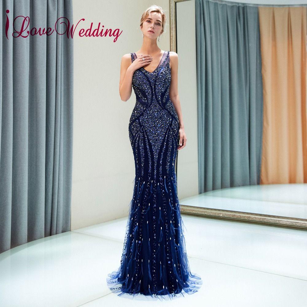 ILoveWedding Vestido de festa longo V-ausschnitt Schwere Großen Perlen Navy Blau Tüll Meerjungfrau Sexy Back Lange Fishtail Abendkleider