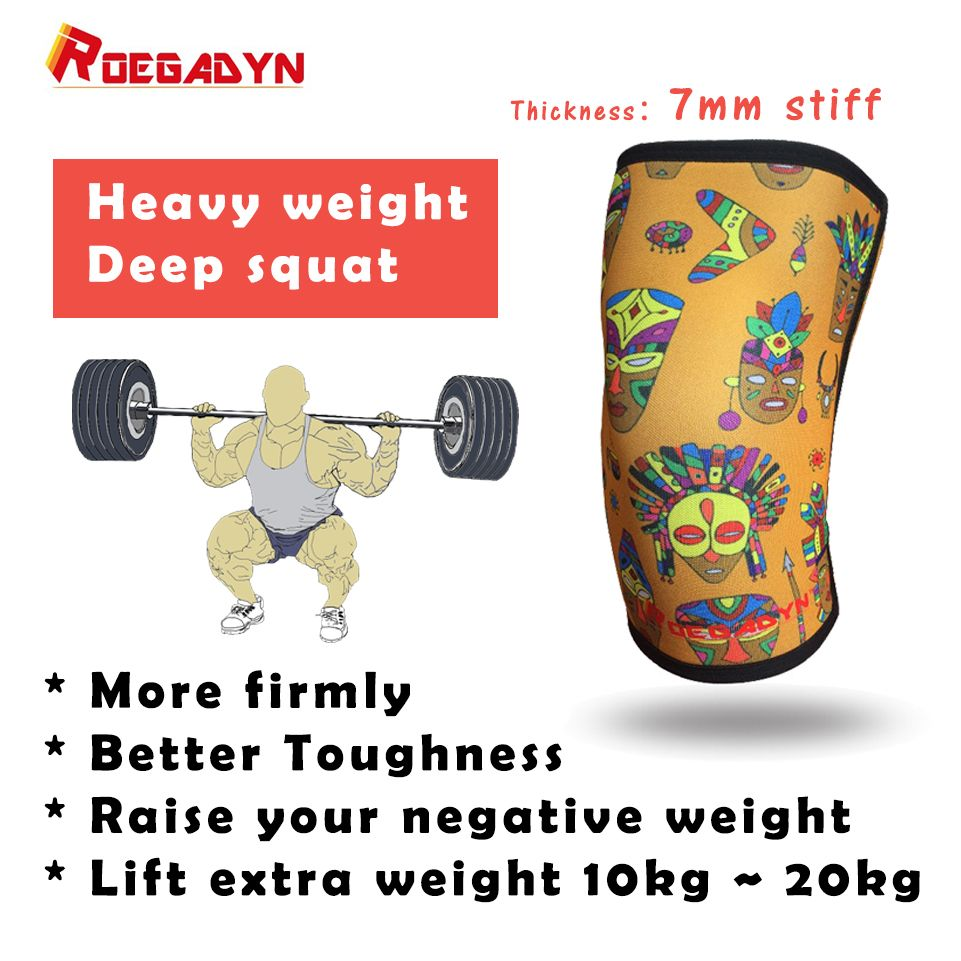 Professional CrossFit Knee Sleeve 30cm Length 7mm Neoprene Compression Knee Support Brace For WeightLifting,Deep Squat,DeadLift