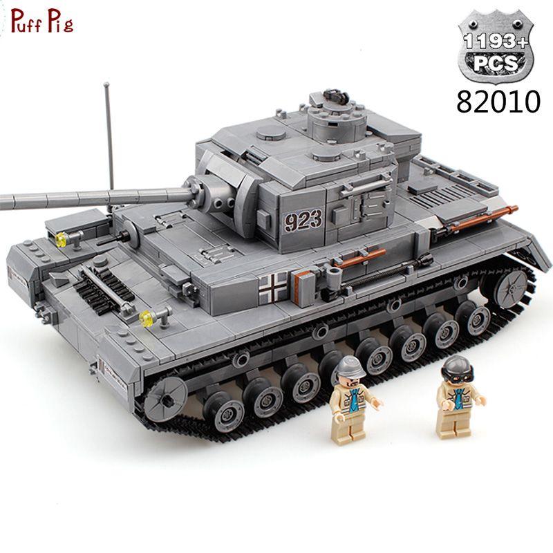 1193 stücke Military Armee Große Panzer IV F2 Die Tiger Tank Modell Bausteine Kompatibel Legoe Waffe Stadt Ziegel Spielzeug für Kind