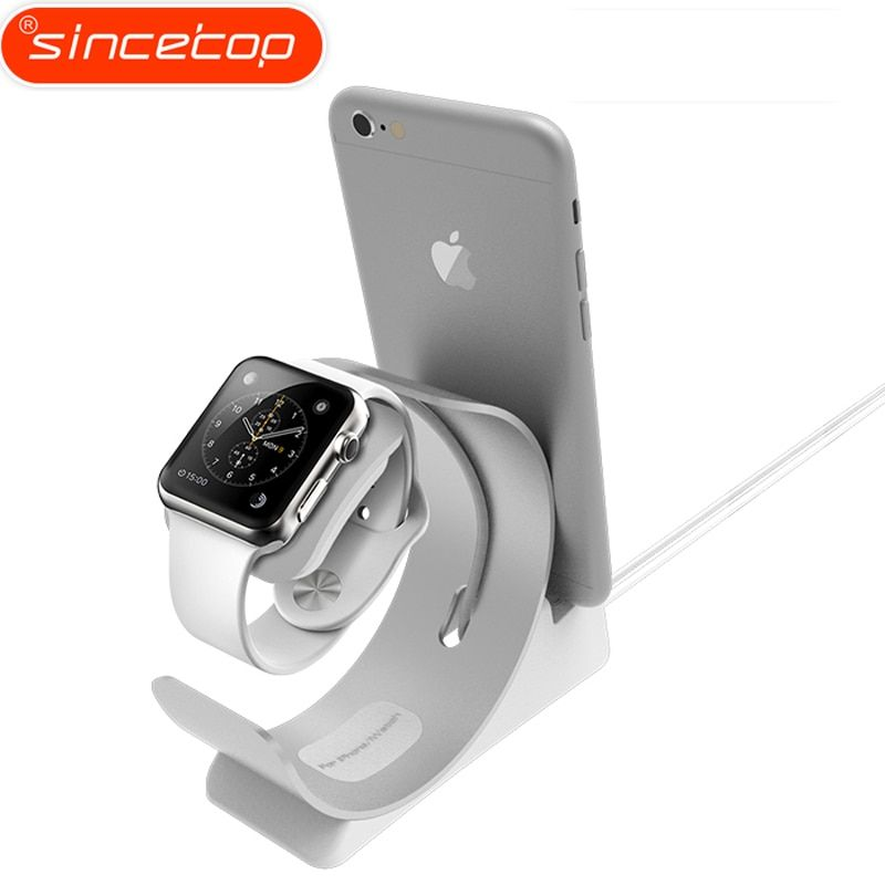 Simple 2 in 1 Charger Dock for Apple Watch Stand for iPhone 7 holder Base pop socket Aluminum Desktop phone Holder for ipad