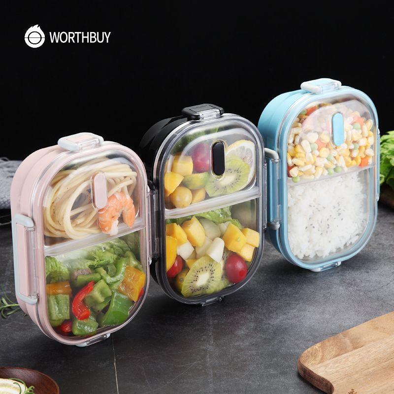 WORTHBUY Japonais boîte à déjeuner portable Pour Enfants École 304 acier inoxydable Bento Boîte Cuisine Fuite-preuve récipient pour aliments gamelle