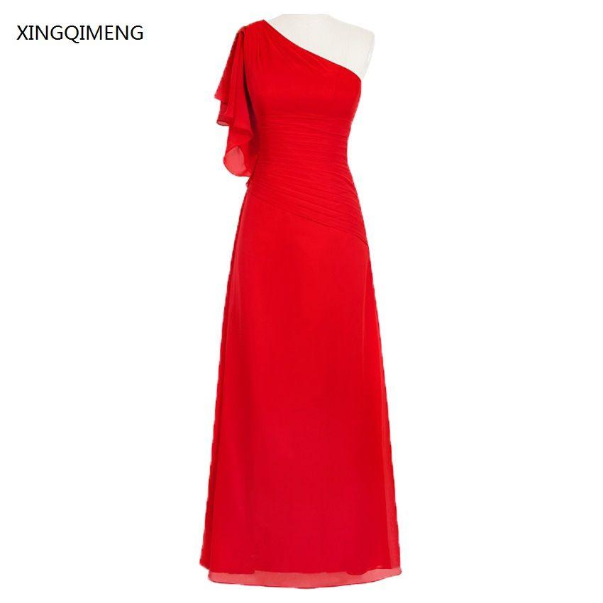 Elegantes Vestidos de Dama de honor Largo Con Un Hombro Piso-Longitud Gasa Vestidos de Boda vestido madrina