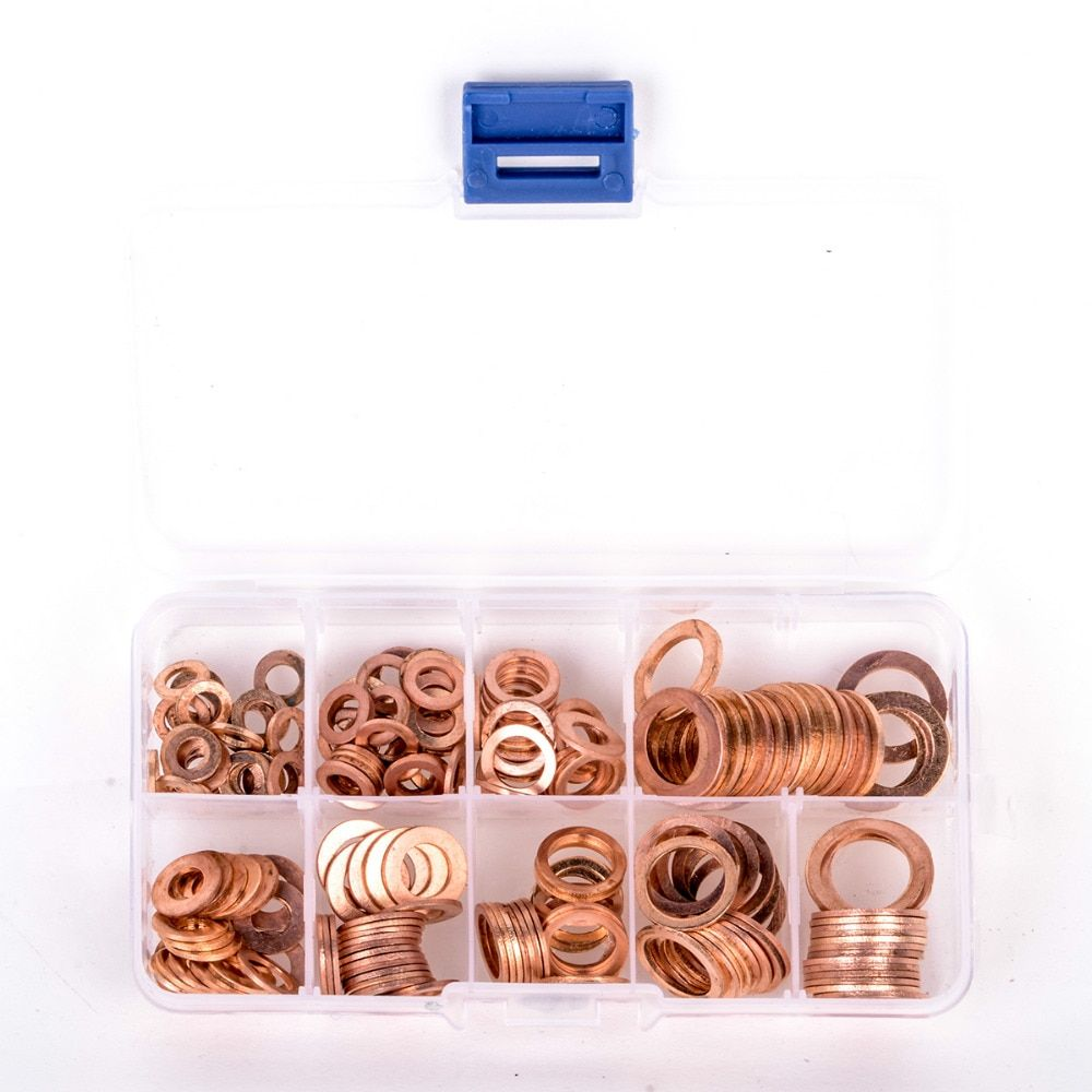 200pcs Copper Washer Gasket Set Flat Ring Seal Assortment Kit with Box M5-M14 For Hardware Accessories