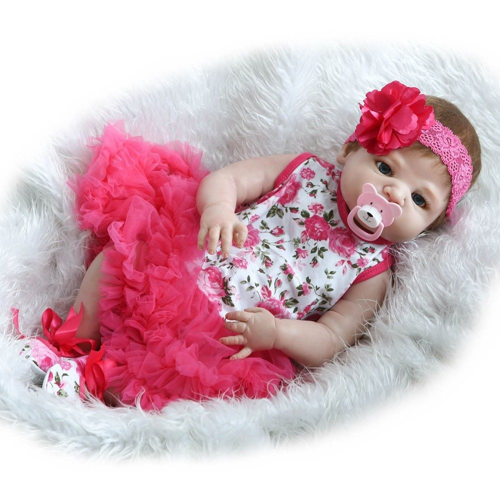 NPK COLLECTION 55cm Full Body Silicone Reborn Baby Doll Toys Lifelike Full Vinyl Newborn Girl Babies Brithday Gift Bathe Toy