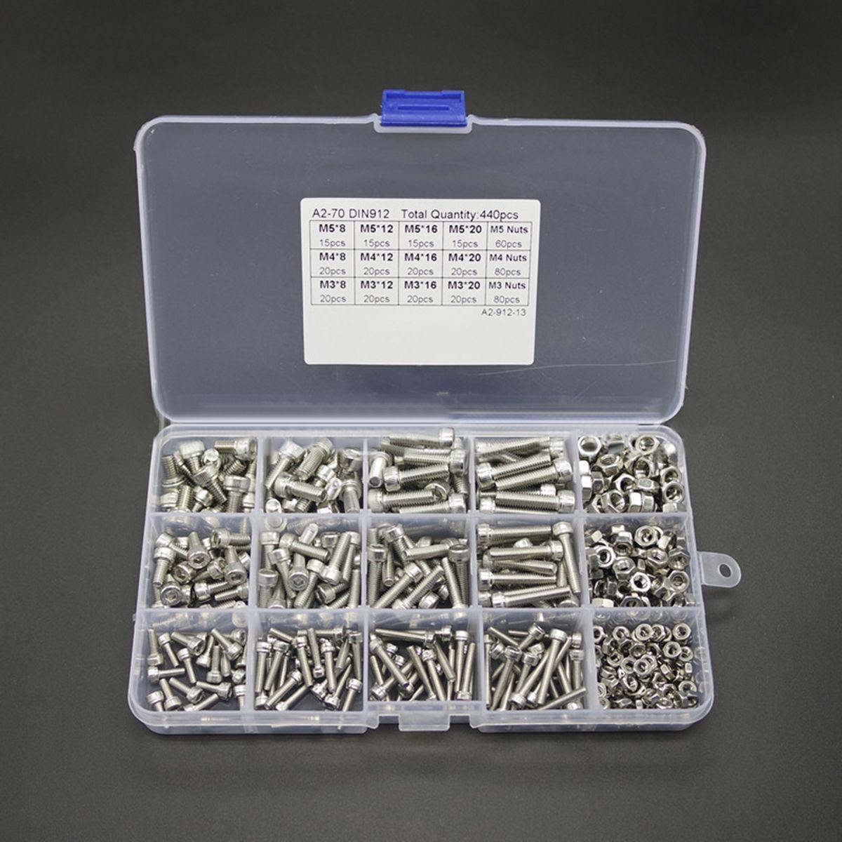 440 stücke Edelstahl Innensechskant Schrauben M3 M4 M5 Mayitr Rundkopf Schrauben Muttern Kit mit Kunststoff-box
