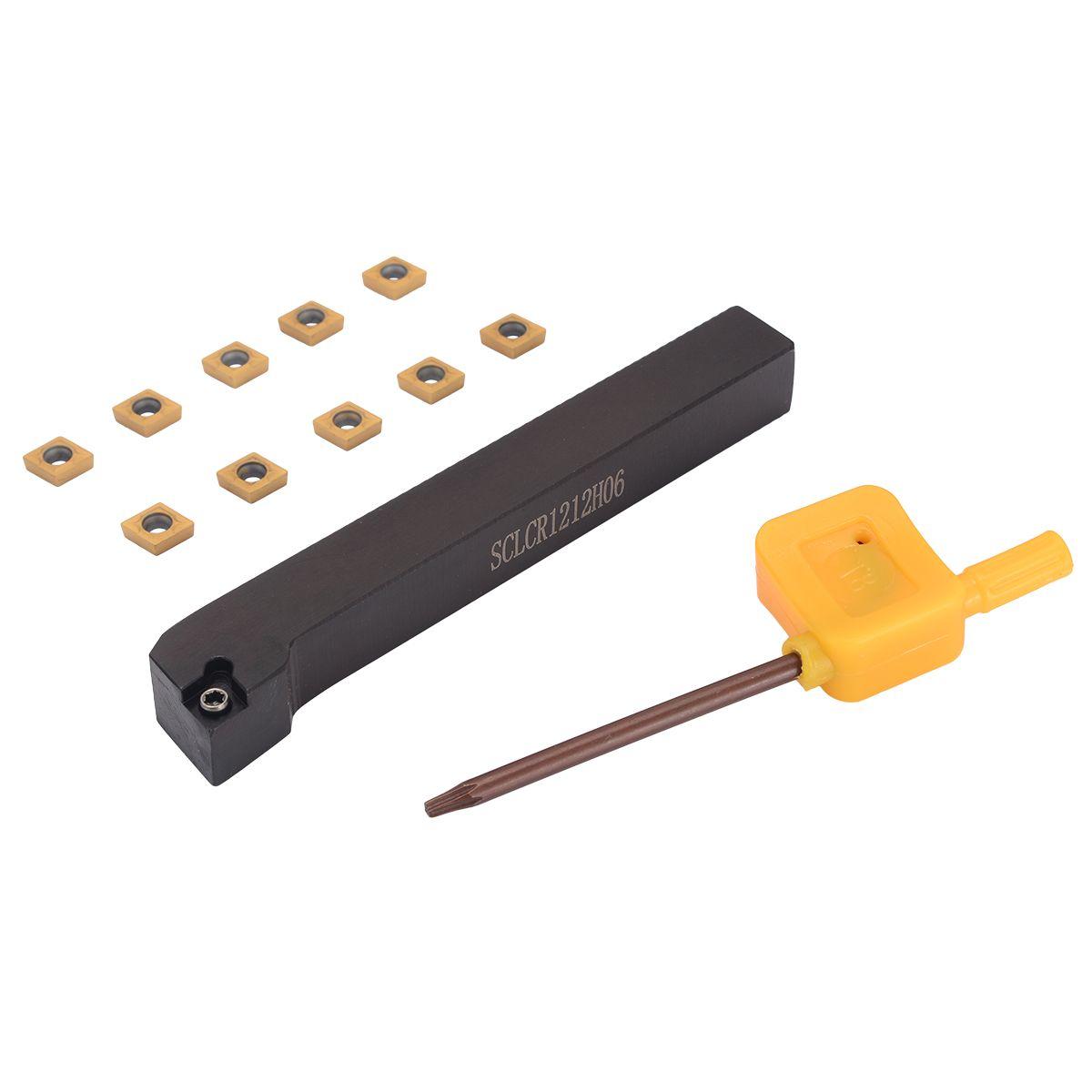 1 stück SCLCR1212H06 Drehmaschine Drehen Werkzeug Halter + 10 stücke CCMT060204-HM VP15TF Hartmetall Einfügen mit T8 Schlüssel