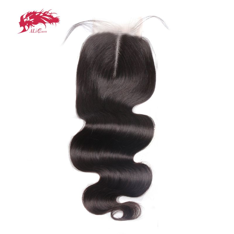 Ali Queen Hair Products Body Wave Brazilian Virgin Hair Lace Closure Middle Part Natural Color 10