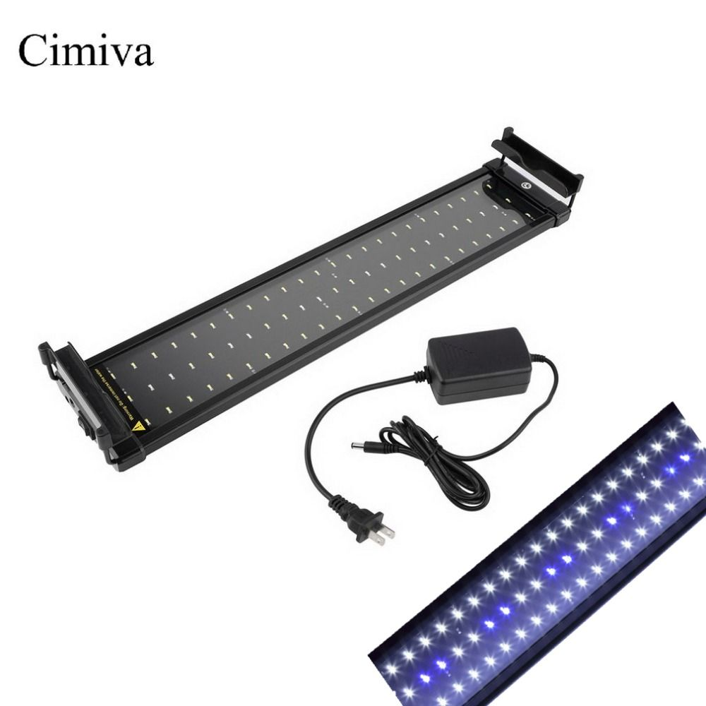 Cimiva 50-70cm Aquarium LED Lighting Fish Tank Light Lamp with Extendable Brackets 60 White and 12 Blue LEDs Fits for Aquarium