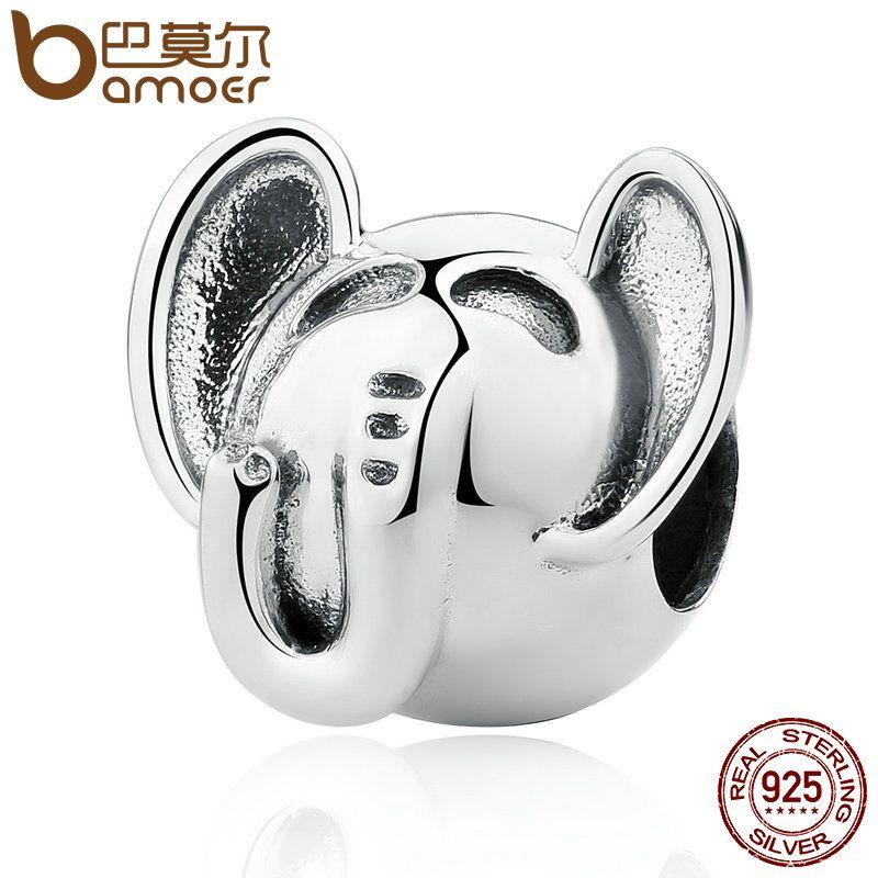 BAMOER Hohe Qualität 925 Sterling Silber Elefanten Lange Nase Großen OHREN Tier Charms fit Armband für Frauen Mode Schmuck SCC099