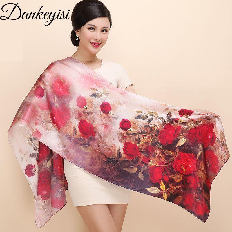 DANKEYISI Women Mulberry Silk Scarf Shawl Spring Autumn Female Genuine Silk Scarves Long Printed Shawls Beach Cover-ups 172*55cm