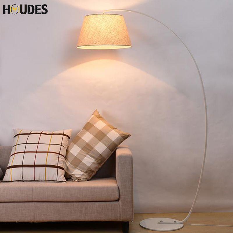 Fashion Design Modern Cloth Floor Lamp For Living Room Bedroom Bedside Fishing Lambader Black White led floor standing lamp E27
