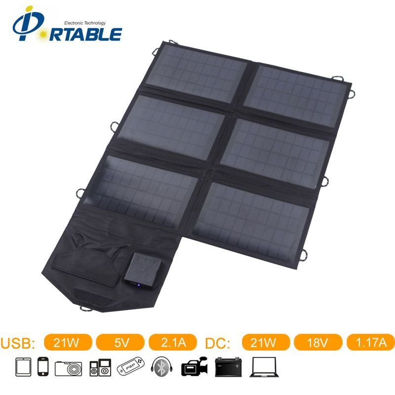 Individual Packing on sales 21W Dual Output Foldable Outdoor Solar Panel Charger (DC18V & USB5V) for Tablets Ipads mobiles