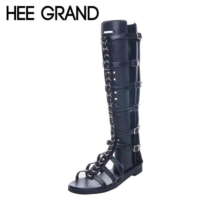 HEE GRAND Brand Fashion Metal Chain Gladiator Sandals Woman Flat With Summer Shoes Buckle Frework Boots XWZ4201
