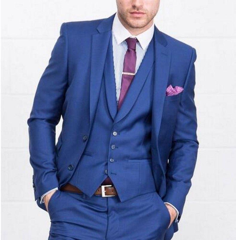 New Royal Blue 3 Pieces Mens Suits 2 Buttons Wedding Suits for Men Groom Tuxedos Business Formal Suit (Jacket+Pants+vest+tie)