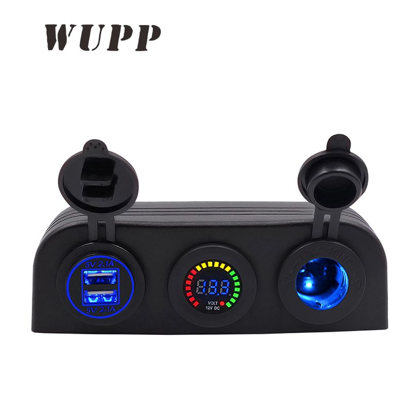WUPP Auto 5V 4.2A Dual Usb Car Boat Charger 12V Color Voltmeter Cigarette Lighter Socket Three Holes Tent Panel Blue Red Green