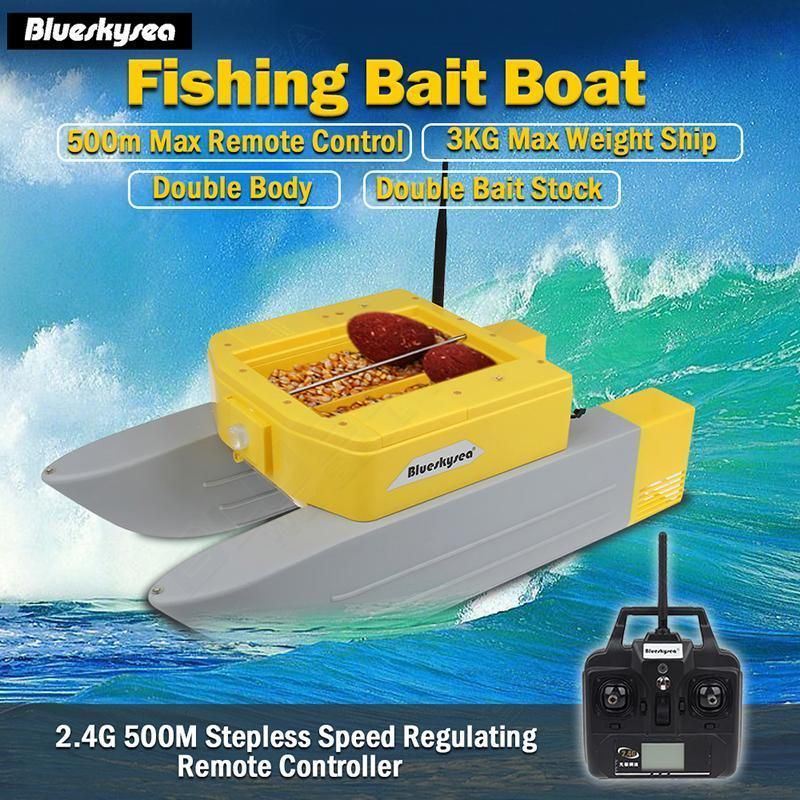 Newest Blueskysea T168 rc bait boat 500M Remote boat fishing Lure bait 3kg rc boat double Bait Stock For Fishing