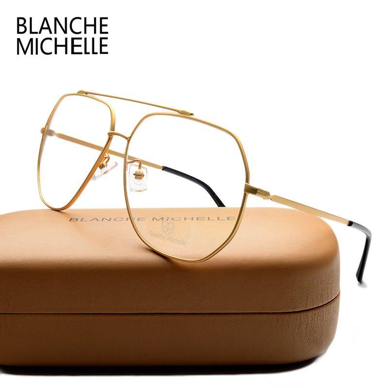 Acier inoxydable unisexe lunettes cadre UV400 lunettes cadres clair lunettes femmes hommes optique or lunettes lunettes Transparent