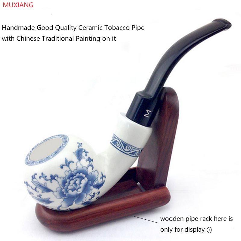 MUXIANG Main En Céramique Tuyau Flexion Type Bleu et Blanc Porcelaine Pipe Double D'argile D'isolation Fugu Tabac à Pipe an0001