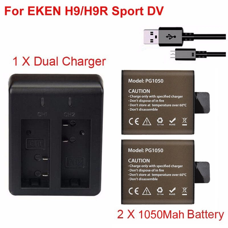 Action caméra batterie de rechange 2X1050 mAh batterie rechargeable + double USB chargeur Dock pour EKEN H9 H9R H3R H8