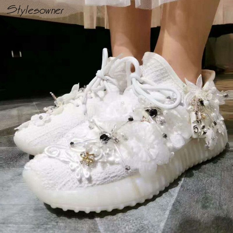 Stylesowner Flower Mesh Elastic Casual Shoes Platform Crystal Women Elegant Rhinestone Sneakers Fashion Embroider Pearl Sneakers