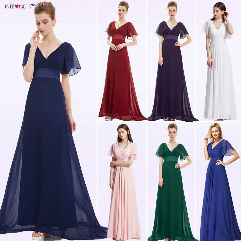 Evening Dresses EP09890 Padded Trailing Flutter Sleeve Long Women Gown 2018 New Chiffon Summer Style <font><b>Special</b></font> Occasion Dresses