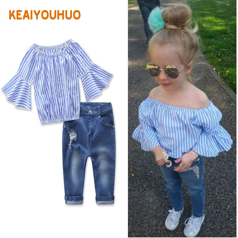 <font><b>Baby</b></font> Girls Clothing Set kid fashion jeans pants+Dovetail t-shirt Children Clothes Set for girl Kids Outfits Clothes 2-7 Years