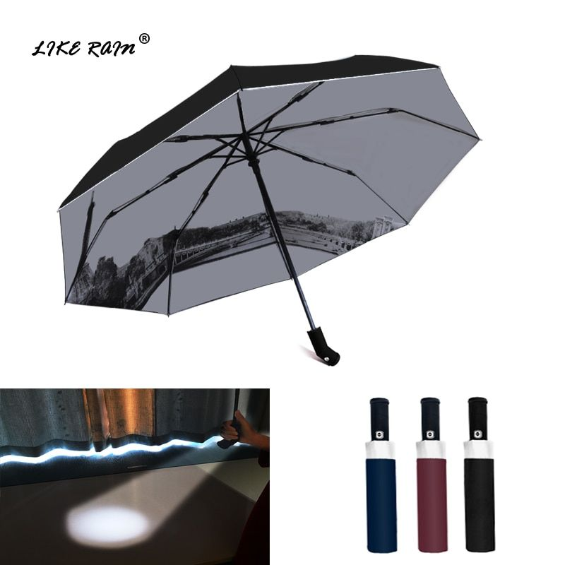 LIKE RAIN Creative LED Light <font><b>Flashlight</b></font> Umbrella Rain Women Brand Men Large Automatic Umbrella Eiffel Tower Umbrella UBY36