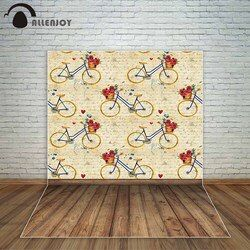 Allenjoy romantic backdrop wedding photocall Valentine's Day background vintage newspaper style bicycles flowers wooden floor