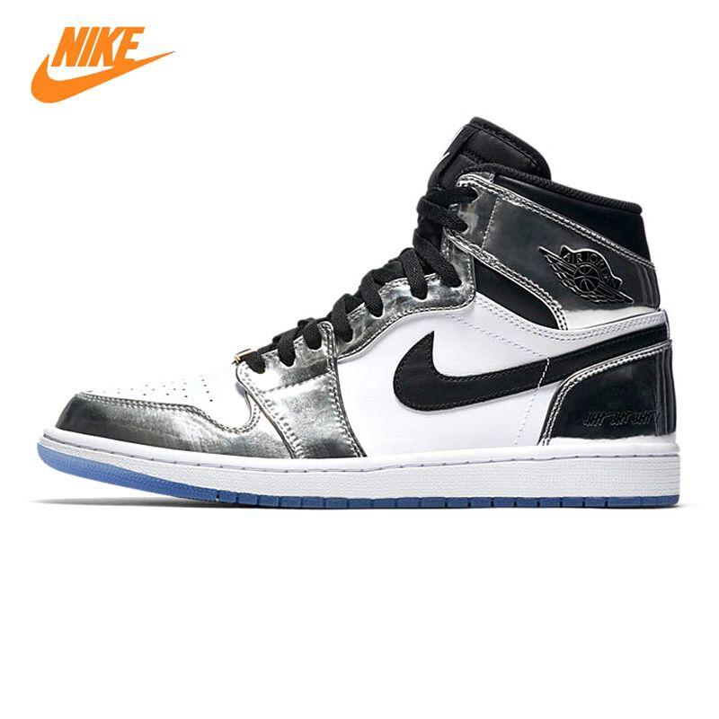Nike Air Jordan 1 Pass Die Fackel Männer Basketball-schuhe, Black & White, verschleißfeste Atmungs Leichte AQ7476 016