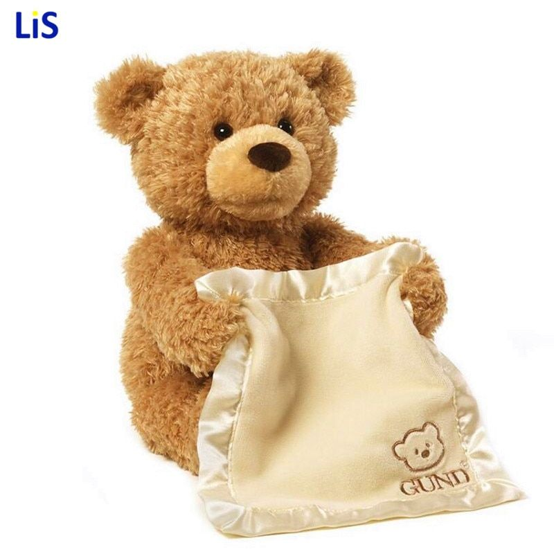 Peek a Boo Teddy Bear Play Hide And Seek Lovely Cartoon Stuffed Kids Birthday Gift 30cm Cute Music Bear Plush Toy
