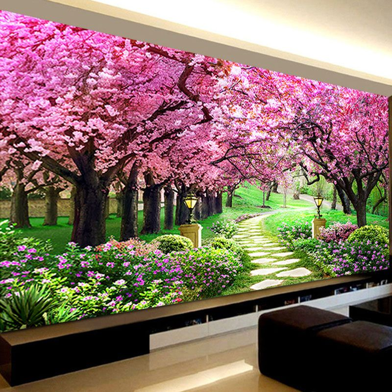 Romantic Sakura Trees Diamond Embroidery, Landscape,5d Diamond Painting Cross Stitch,diy Diamond Mosaic Needlework,Bedroom Decor