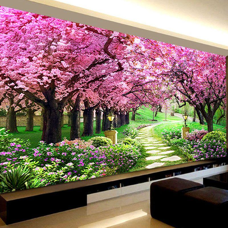 Romantic Sakura Trees Diamond Embroidery, Landscape,5d Diamond Painting Cross Stitch,diy Diamond Mosaic Needlework,Bedroom Decor