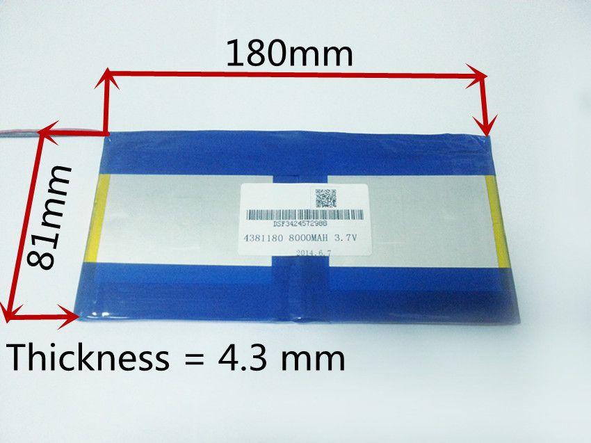 3.7 V, 8000 mAH, [4381180] PLIB (polymère au lithium ion batterie) Li-ion batterie pour tablet pc, PIPO M9 pro 3g/max M9 quad core