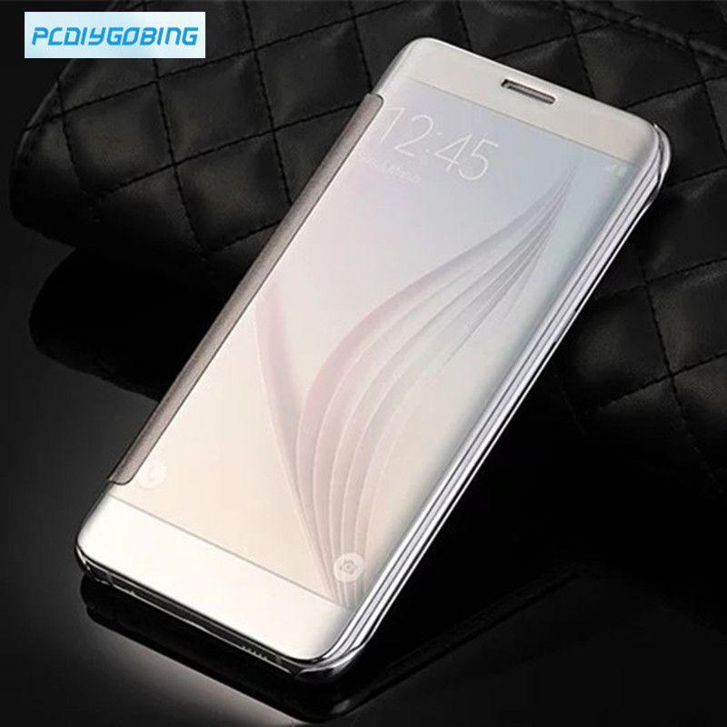 Original Translucent Plated mirror window clear View Flip Cover for Samsung Galaxy A3 A5 A7 A8 A9 A310 A510 A710 J1 J5 J7 2016