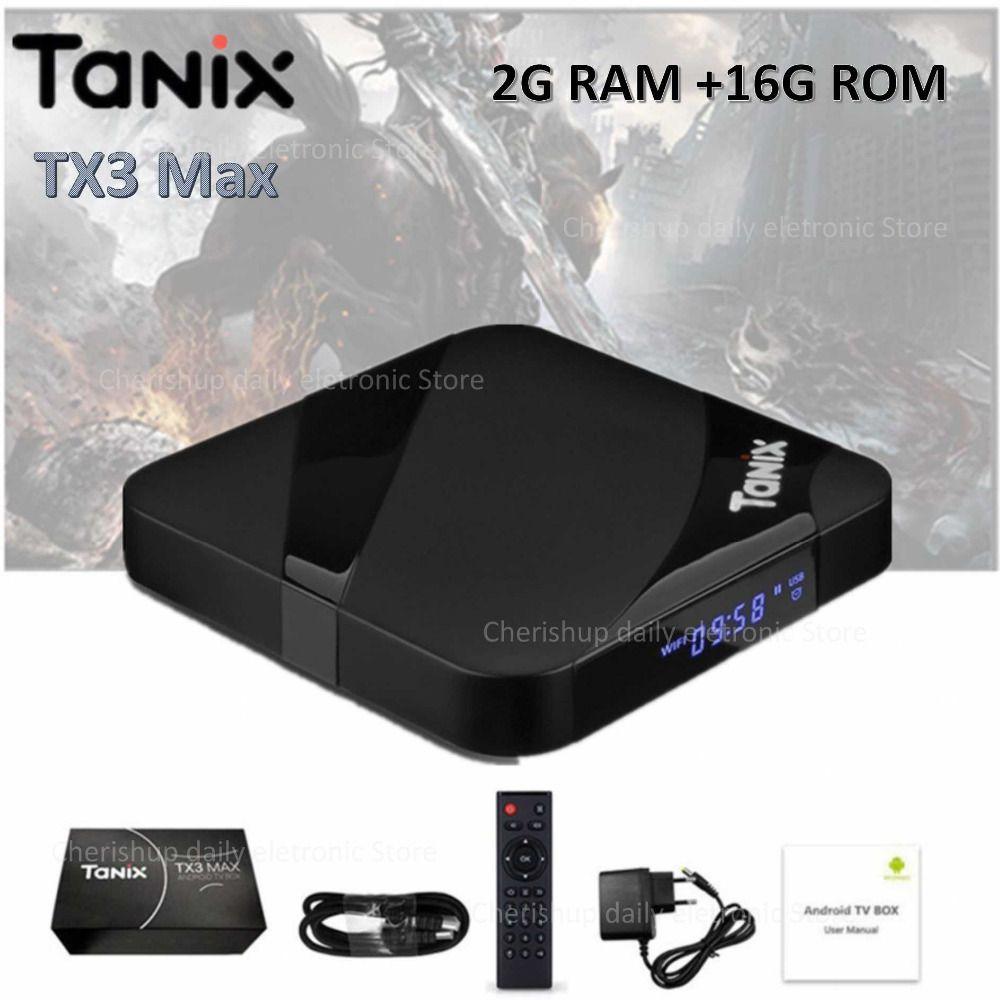 Tanix TX3 Max Smart TV Box Android 7.1 Set-top Box HDMI 2.0 H.265 4K Media Player Amlogic S905W 2GB 16GB Bluetooth PK x96 mini