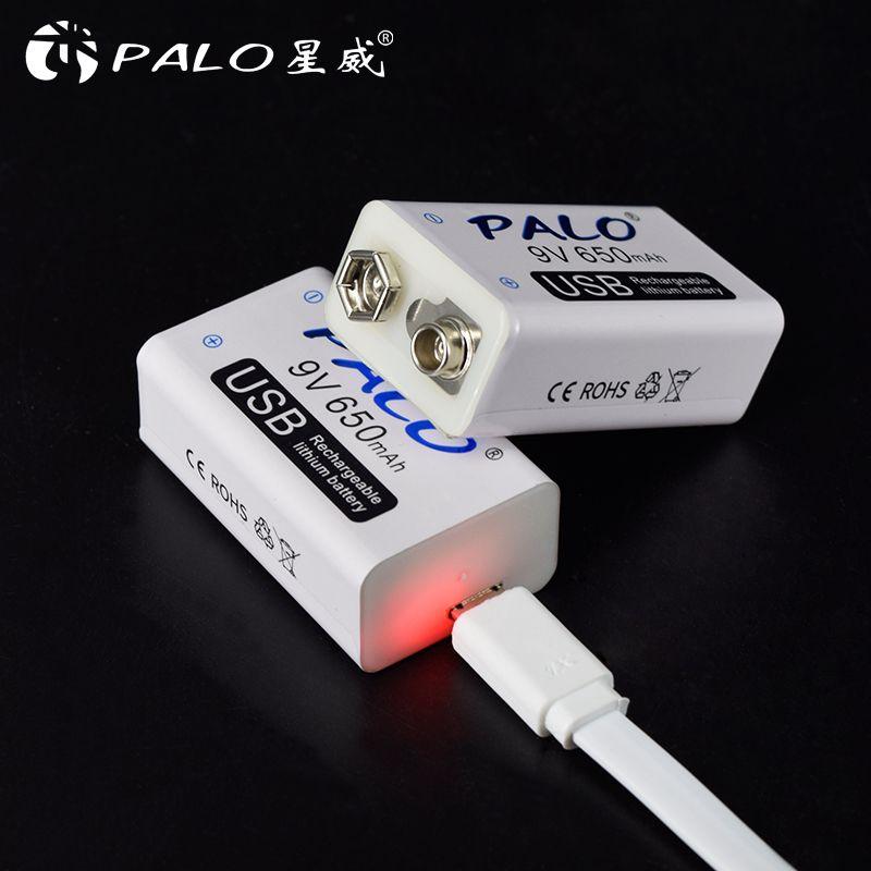 PALO 9 V USB batterie 650 mah Rechargeable micro usb 9 V Lipo Batteries pour microphone sans fil microphone guitare pour EQ détecteur de fumée