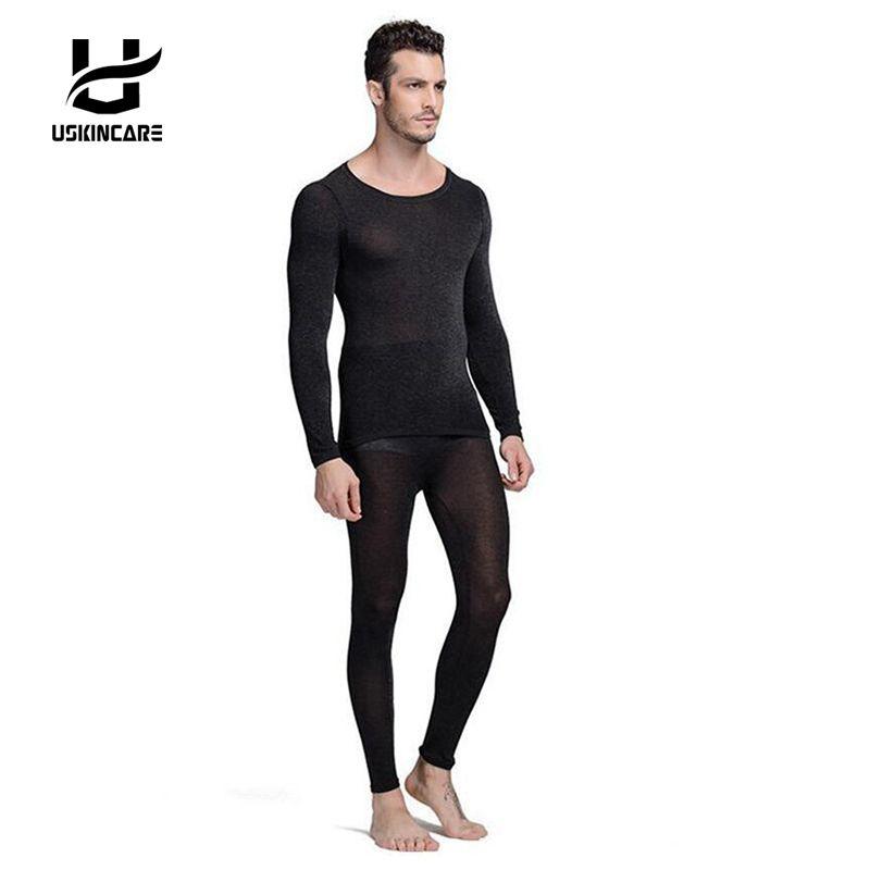 Sans couture Hiver 37 Degrés Hommes Minceur Chaud Thermique Sous-Vêtements Ultra-Mince Chaleur Longs Super Élastique Mince Costume de Corps Pour Homme