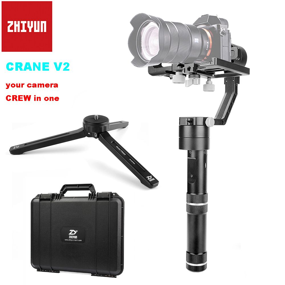 Zhiyun Crane V2 3-axis Brushless Handle Gimbal Stabilizer for Sony Camera Payload 350g-1800g + Tabletop Tripod PK Zhiyun Crane M