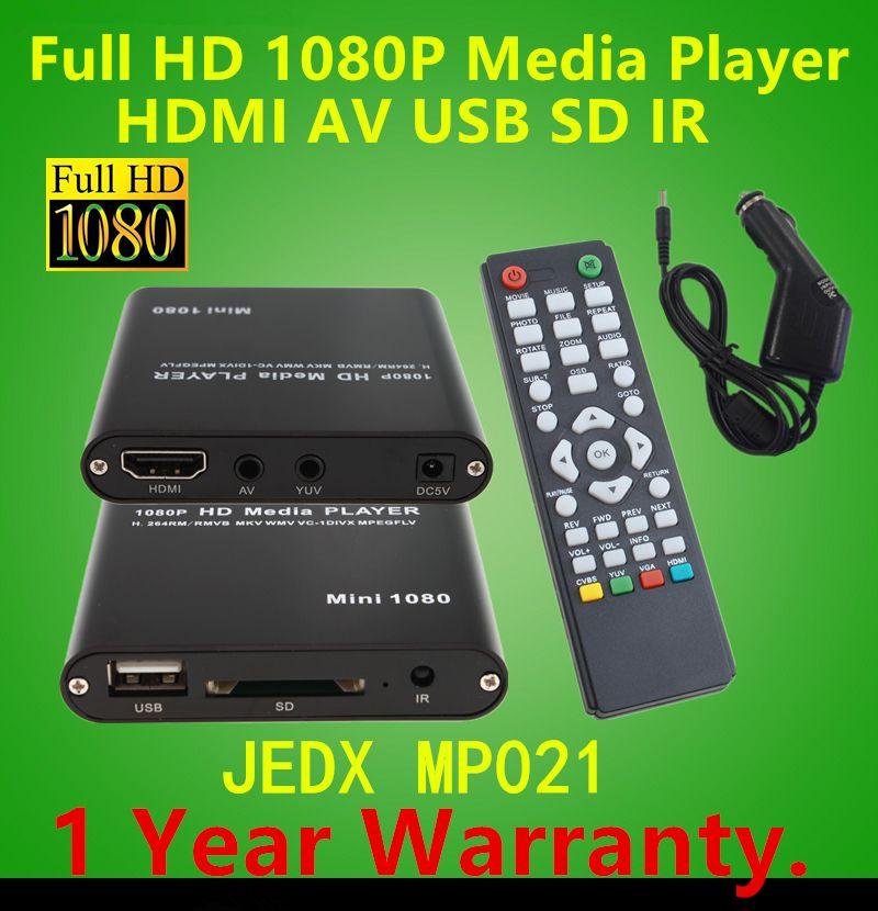 Full HD Multi Media Player 1080P TV Video HDMI YPbPr USB AV SDHC MKV AVI RM RMVB WITH Car adapter GIFT free shipping!