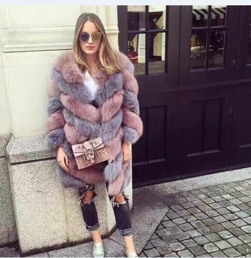 Customized patchwork color - Italy brands Milan Runway natural fox fur coats New collection 2018 twisted style Real Fur jackets