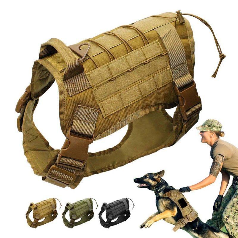 Tactique Service Chien Gilet Formation Chasse Molle Nylon L'eau-resistan Patrouille Militaire Réglable Chien Harnais avec Poignée Chasse