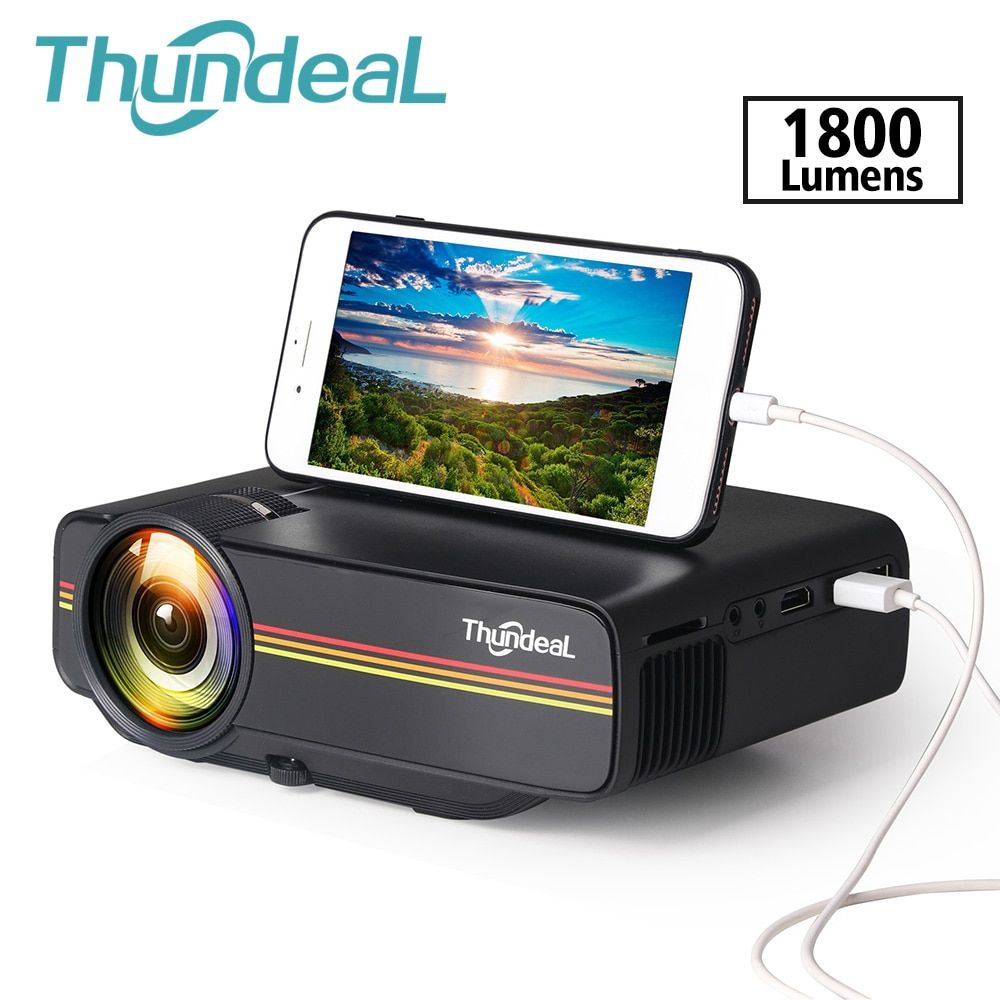 ThundeaL YG400 up YG400A Mini projecteur 1800 Lumen affichage de synchronisation filaire plus stable que le projecteur WiFi Beamer film AC3 HDMI VGA
