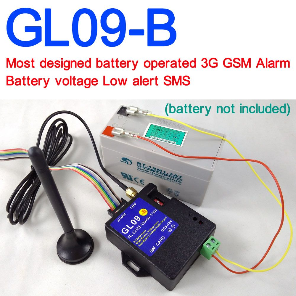 Battery operated GL09-B 3G GSM Alarm system SMS Alert Wireless alarm Home and industrial burglar security alarm
